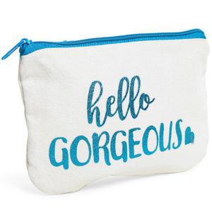 Handbags - NWT White Canvas Hello Gorgeous Cosmetic Bag